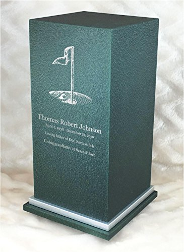 PERSONALIZED Engraved Golf Cremation Urn for Human Ashes-Made in America-Handcrafted in the USA by Amaranthine Urns-Eaton SE- Adult Funeral Urn (up to 200 lbs living weight) (Forest (Metal Forest Green Powder)