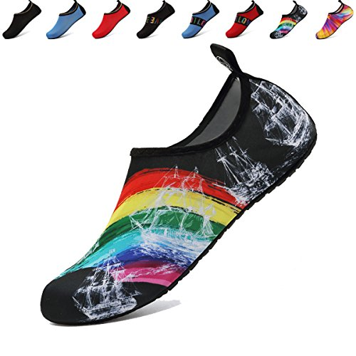ANLUKE Water Sports Barefoot Shoes Quick-Dry Aqua Yoga Socks Slip-On For Men Women Kids F Black/Rainbow 38/39