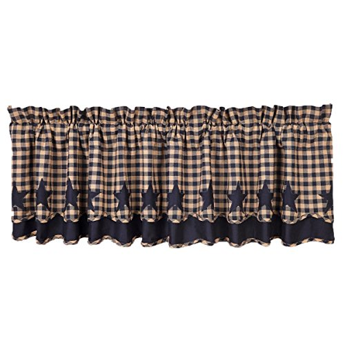 VHC Brands 20232 Navy Star Scalloped Valance Layered Lined 1