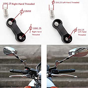 Mirror Adapter Rearview Mirror Extender 10mm 8mm Motorcycle Rearview Mirror Adapter Kit Riser Mount Extender