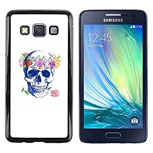 Shell-Star Arte & diseño plástico duro Fundas Cover Cubre Hard Case Cover para Samsung Galaxy A3 / SM-A300 ( Floral Wreath Spring Love Rose Skull )