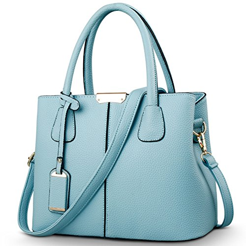 Covelin Women's Top-handle Cross Body Handbag Middle Size Purse Durable Leather Tote Bag Light Blue by Covelin