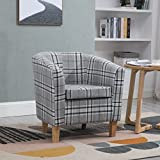 WestWood Linen Fabric Tub Chair Armchair Dining Living Room Lounge Office Modern Furniture Grey Checked TC03