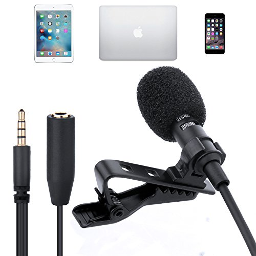 Hltd Lavalier Lapel Microphone Mic Clip-on Omnidirectional Condenser Mini Microphone For PC,Iphone Ipad Ipod Samsung Android and Other Smartphones (Instrument Cable Apple)
