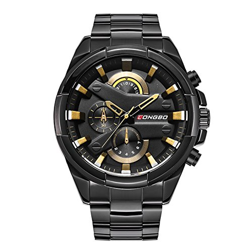 - LONGBO Fashion Sportive Men Analog Quartz Gold Sign Unique Black Dial Watches Black Stainless Steel Strap Waterproof Business WristWatch for Men