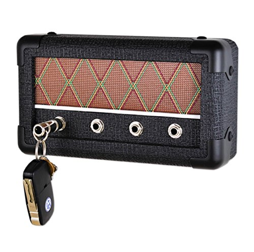 Guitar Amp Wall Mounted Key Holder with 4 Keychains, The Key Board by DropLight (Black Diamond)