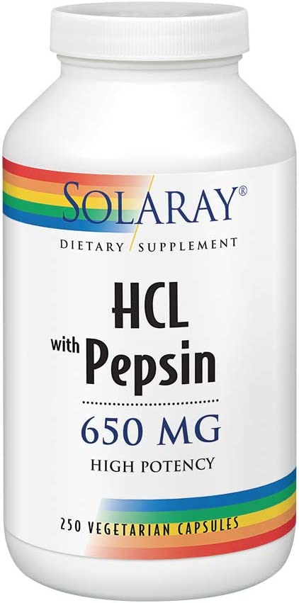 Solaray High Potency Betaine HCL with Pepsin 650 mg | Hydrochloric Acid Formula for Healthy Digestion Support | Lab Verified | 250 VegCaps