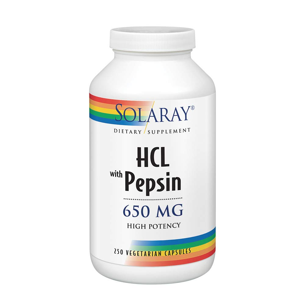Solaray High Potency Betaine HCL with Pepsin 650 Milligram | Hydrochloric Acid Formula for Healthy Digestion Support | Lab Verified | 250 VegCaps by Solaray