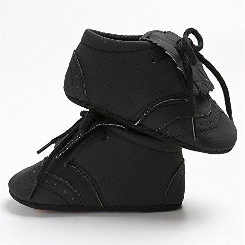 Ekimi Baby Shoes Tassel Crib Shoes Soft Sole Anti-slip Sneakers Canvas (11cm, Black)