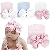 Baby Girl Soft Cotton Beanie Infant Floral Knot Cap Hospital Hat Kid Headwarp Turban (4pack newborn hospital hat)