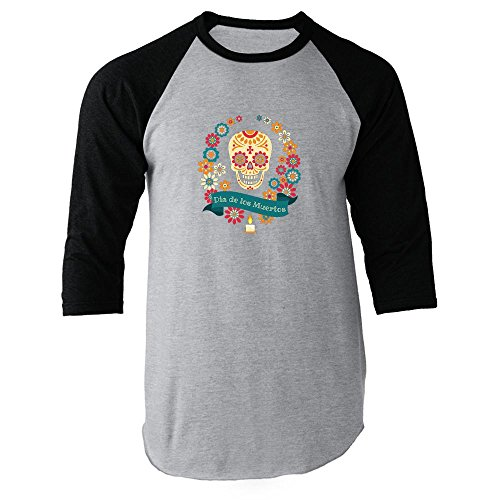 Dia de los Muertos Sugar Skull Halloween Costume Horror Vintage Retro Clothing Death Black L Raglan Baseball Tee Shirt