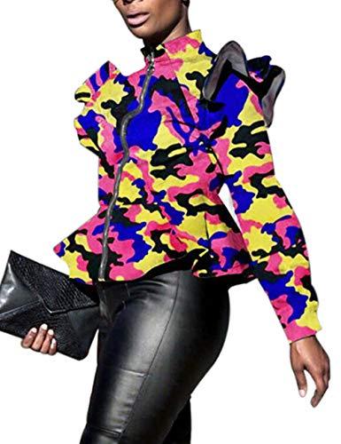 XXXITICAT Women's Ruffle Straight Aviator Coats Outerwear Satin Motorcycle Flounced Bomber ()
