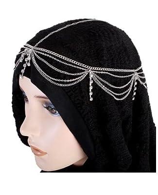 Hair Accessory Silvertone Rhinestone Tassel Head Chain Hairband (Style FH1058-SIL)