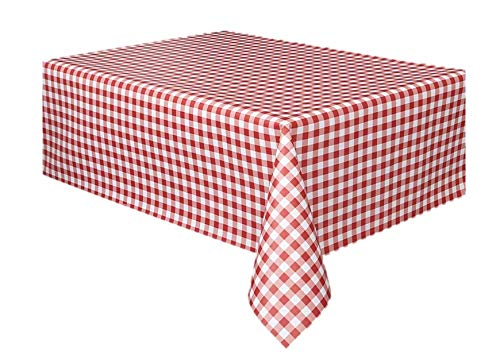 (6 Pack Party Vinyl Tablecloth Red White Checkered Gingham Print - Size 108 Inch x 55 Inch )