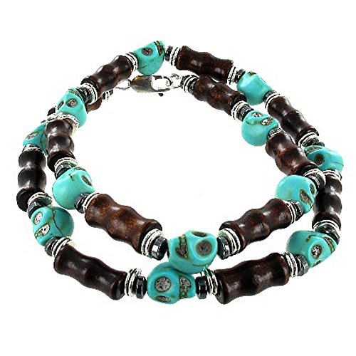 Mens Turquoise Magnesite Skull, Hematite (Hemalyke) & Brown Bamboo Wood Beaded Necklace - 24