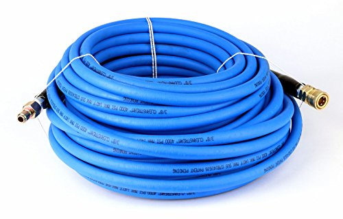 """Schieffer 4000 PSI 3/8"""" x 100' CLEANSTREAM Blue Non-Marking Abrasion Resistant Pressure Washer Hose w/ Quick Connects"""