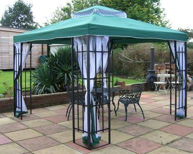 BUCKINGHAM o cama de matrimonio con marco METAL GAZEBO verde toldo de 3 m x 3 m incluye mosquitera cortinas laterales: Amazon.es: Jardín