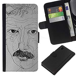 Planetar® Modelo colorido cuero carpeta tirón caso cubierta piel Holster Funda protección Sony Xperia Z1 L39 ( Portrait Artist Art Moustache Drawing )