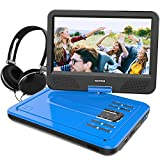 WONNIE 10.5 Inch Portable DVD Player with Swivel Screen, USB/SD Slot Built in 4 Hours Rechargeable Battery (BLUE)