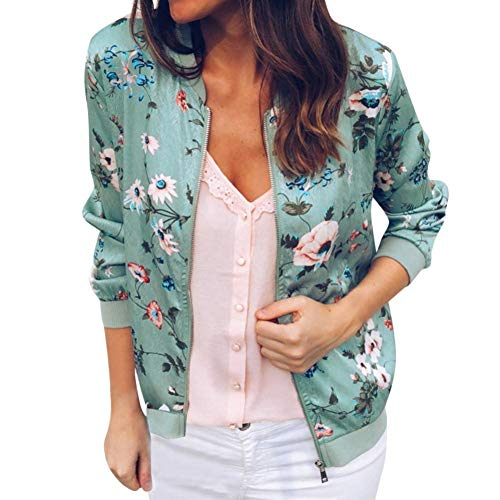 Women Retro Floral Zipper Bomber Jacket Long Sleeve Casual Chic Coat Streetwear(Green ,X-Large)