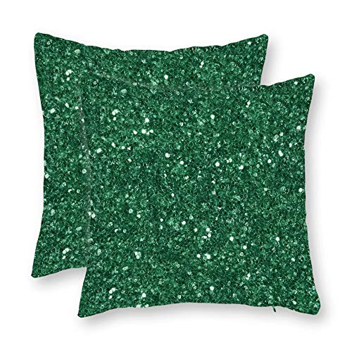 DKISEE Set of 2 Abstract Green Glitter Square Throw Pillow Cover Canvas Pillow Case Sofa Couch Chair Cushion Cover for Home Decor ()