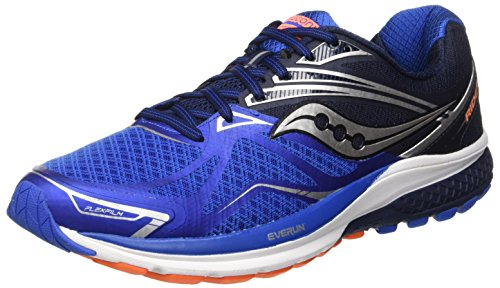 Saucony Men's Ride 9 Running Shoe, Grey/Blue/Orange, 11.5 M US