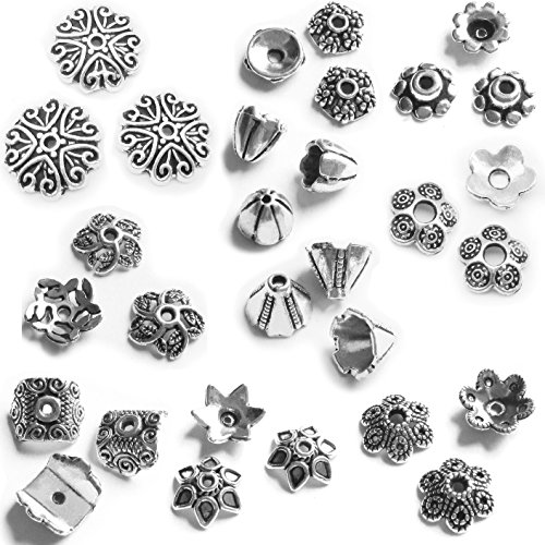 Heather's cf 237 Pieces Silver Tone Zinc Alloy Tibetan Bead Caps Combination Fit 8-14mm Beads