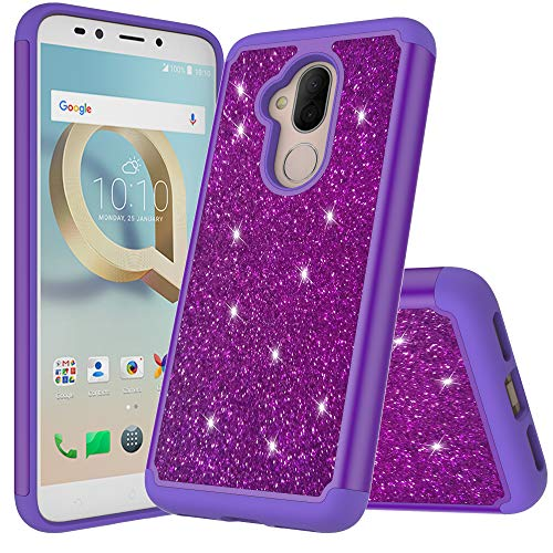 Compatible fit for Alcatel 7 / Revvl 2 Plus/ ACTL6062 [2018 Metro PCS, etc] Cute Glitter Bling Sparkle Dual Layer Protective Hybrid Shockproof Case with [HD Screen Protector & Free ()