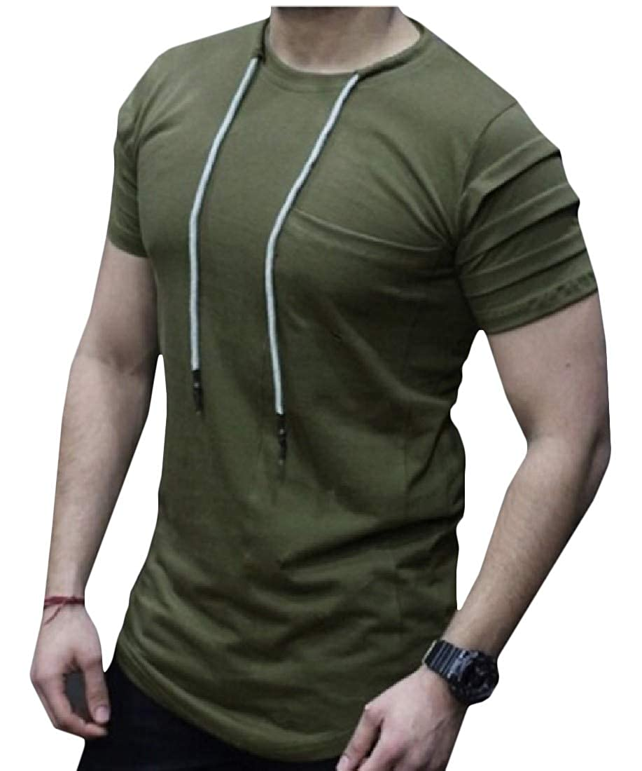 Pandapang Mens Pleated Short Sleeve Pure Colour Pullover Strings T-Shirt Top Tee