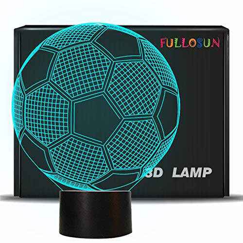 Kids Night Light Football 3D Optical Illusion Lamp with 7 Colors Changing Soccer Birthday Xmas Valentine's Day Gift Idea for Sport Fan Boys -