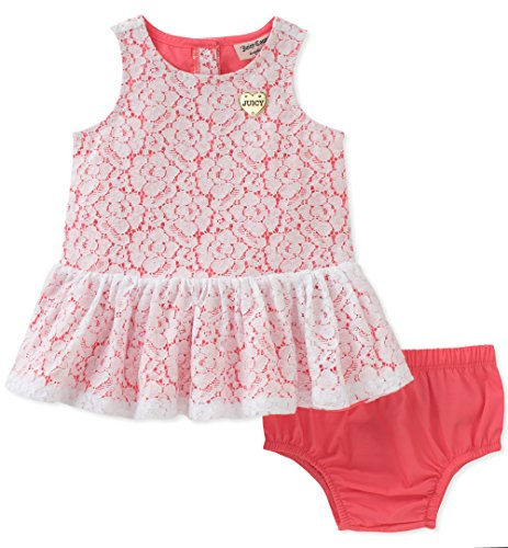 Juicy Couture Baby Girls Dress Panty Set, Coral,