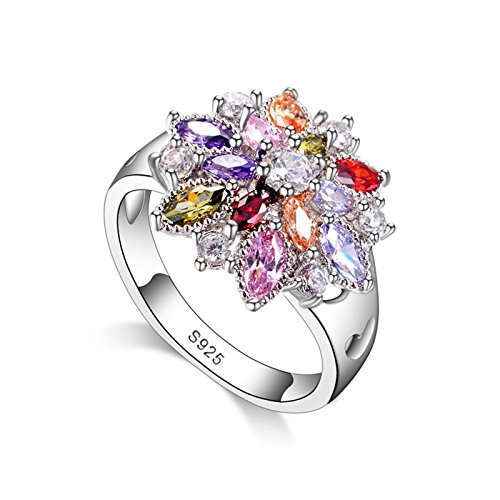Fasherati Colorful CZ Crystal 925 Sterling Silver Party Ring For Women