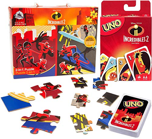 2in1 Card Game Incredible Disney Uno Puzzle Set