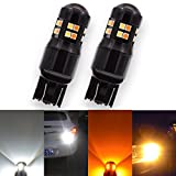 KaTur 1200LM Extremely Bright Xenon White 6500K 7443 7444NA 7440 7440NA 992 Amber/White Switchback Amber-Off-Amber-Off 3030-24SMD Lens LED Brake Turn Signal Light Bulbs (Pack of 2)