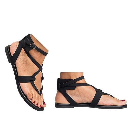 778df3c979a41 Amazon.com: Veodhekai Womens Flat Sandals Ladies Cross Strap Flat ...