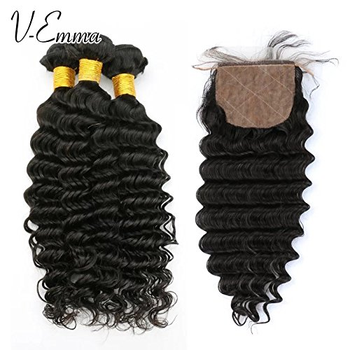 Price comparison product image V-Emma 8A brazilian virgin hair with silk closure 3 bundles deep wave with closure free part human hair ms beyonce hair with closure and bundles 16x16x16+16