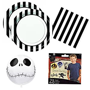 02 Nightmare Before Christmas Jack Skellington theme Party Pack for 16 guests - plates, napkins, balloon, tattoos