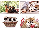 4Pcs x Poster Dog Husky Chihuahua Golden Retriever Pug Puppy Dog Cute Adorable Pets Animal For Pet Shop Room Hotel Office Wall Deco Prints 26x17'' (66x44cm) (5-8)