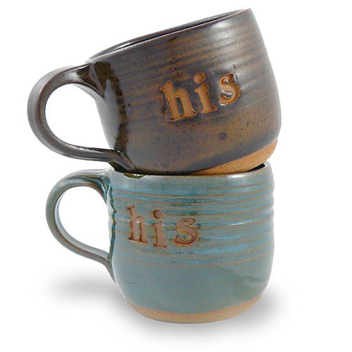 His and His Coffee Mugs, Set of 2, Handcrafted Pottery, 14 oz.