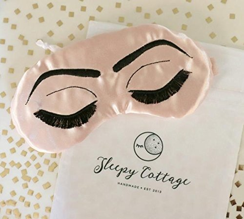Breakfast at Tiffany's Sleep Eye Mask Inspired by Holly Golightly in Blush Pink and Black