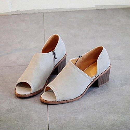 Seitlicher Quadrat reine mit Fisch einzelne Damen HKFV Dick Reißverschluss Schuhe Reißverschluss Damenschuhe Ferse beschuht Weinlese Schuhe Mund Farben Grau Einzelne 8X6Fwq