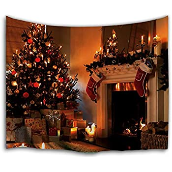 WAOU Wall Hanging Tapestries Wall Tapestry for Home Decor,High Definition Digital Printing Design,Christmas Stockings Fireplace Tapestry - 71