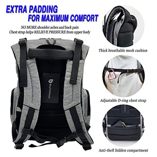 Diaper Bag Backpack - Multifunction Waterproof Insulated Travel Back Pack with USB Charging Port, Baby Changing Pad, Registry and Baby Shower Idea for Mom and Dad, Diaper Bags for Boy and Girl