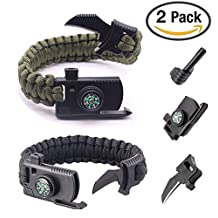 SIGMA - Survival Gear Paracord Bracelet - 2 PACK - Survival Outdoor Bracelet For Hiking Gear Travelling Camping Gear Kit - Parachute Rope Bracelet, Flint Fire Sticks, Compass Stone, Survival Knife, Whistle.
