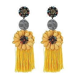 Sunflower Long Tassel Rhinestone Crystal Drop Earrings