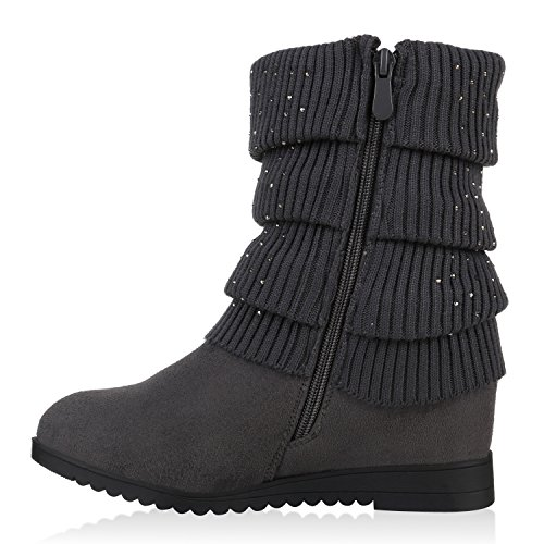 Stiefelparadies Damen Gefütterte Stiefel Keilstiefeletten Quasten Keilabsatz Schuhe Strass Wedges Boots Stulpen Stiefeletten Wildleder-Optik Flandell Grau Strass