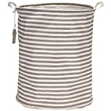 "Sea Team 19.7"" Large Sized Waterproof Coating Ramie Cotton Fabric Folding Laundry Hamper Bucket Cylindric Burlap Canvas Storage Basket with Stylish Red & White Stripe Design, Grey"
