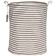 Sea Team 19.7  Large Sized Waterproof Coating Ramie Cotton Fabric Folding Laundry Hamper Bucket Cylindric Burlap Canvas Storage Basket with Stylish Grey & White Stripe Design