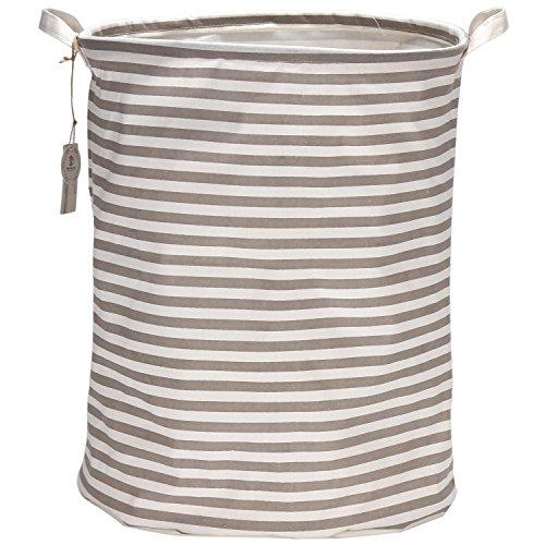 Sea Team 19.7' Large Sized Waterproof Coating Ramie Cotton Fabric Folding Laundry Hamper Bucket Cylindric Burlap Canvas Storage Basket with Stylish Grey & White Stripe Design