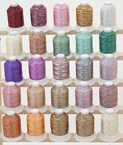 ThreadNanny LARGE 25 Cones Variegated Colors Polyester Machine Embroidery Machine Thread for Brother Babylock Janome Singer Pfaff Husqvarna Bernina Machines SET (Variegated Sewing)
